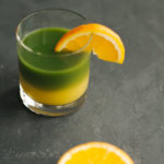 Two-layered matcha with orange juice