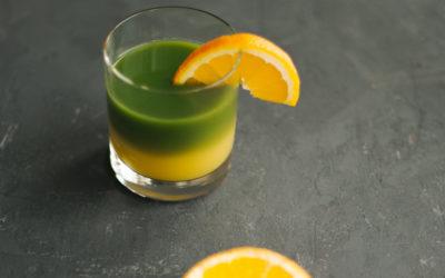Dwukolorowa matcha z pomarańczą
