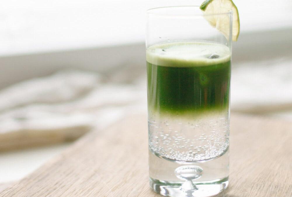Matcha tonic cocktail
